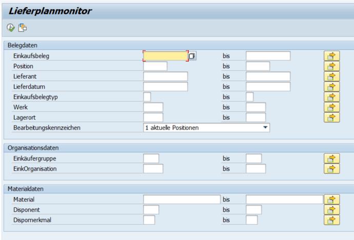 Selektionsmaske Lieferplan-Monitor