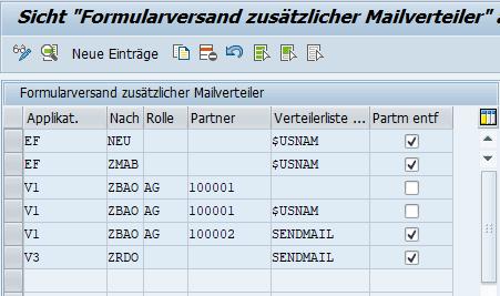 Customizing für das SAP AddOn Zusätzliche Mailempfänger für SAr SAP-Formulare